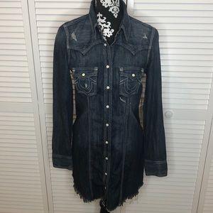 True Religion Rocky Denim Shirt Dress XS NWT